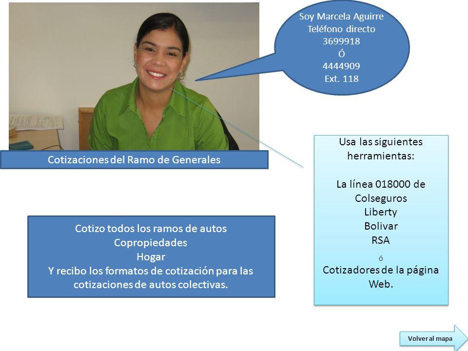 Cotizaciones del Ramo de Generales Soy Marcela Aguirre Teléfono directo 3699918 Ó 4444909 Ext. 118 Volver al mapa Cotizo todos los ramos de autos Copr