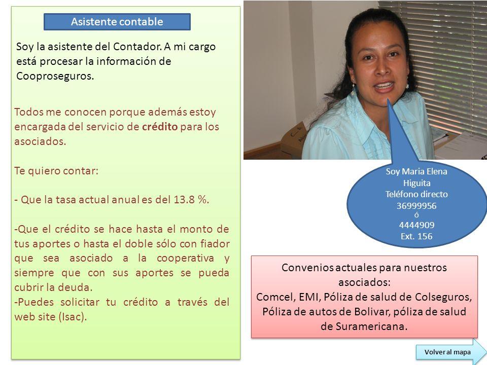 Soy Maria Elena Higuita Teléfono directo 36999956 Ó 4444909 Ext. 156 Soy la asistente del Contador. A mi cargo está procesar la información de Coopros