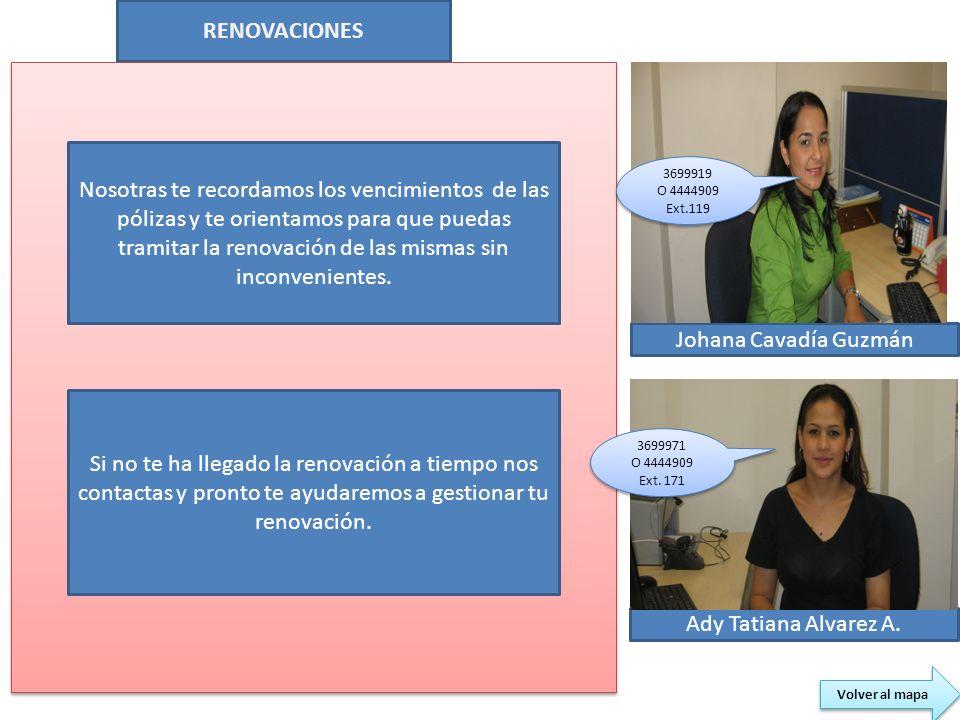 RENOVACIONES Johana Cavadía Guzmán Ady Tatiana Alvarez A. Volver al mapa Nosotras te recordamos los vencimientos de las pólizas y te orientamos para q