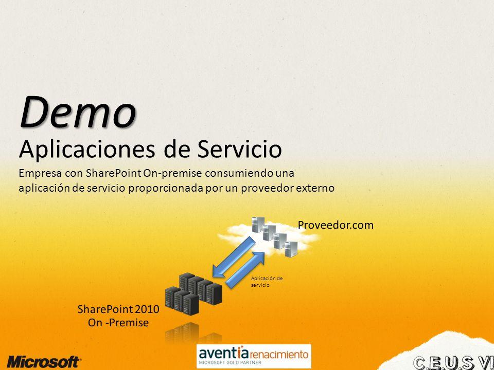 Aplicaciones de Servicio Demo Empresa con SharePoint On-premise consumiendo una aplicación de servicio proporcionada por un proveedor externo Aplicaci