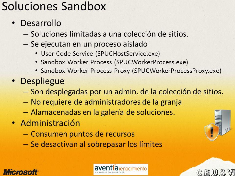 Soluciones Sandbox Desarrollo – Soluciones limitadas a una colección de sitios. – Se ejecutan en un proceso aislado User Code Service (SPUCHostService
