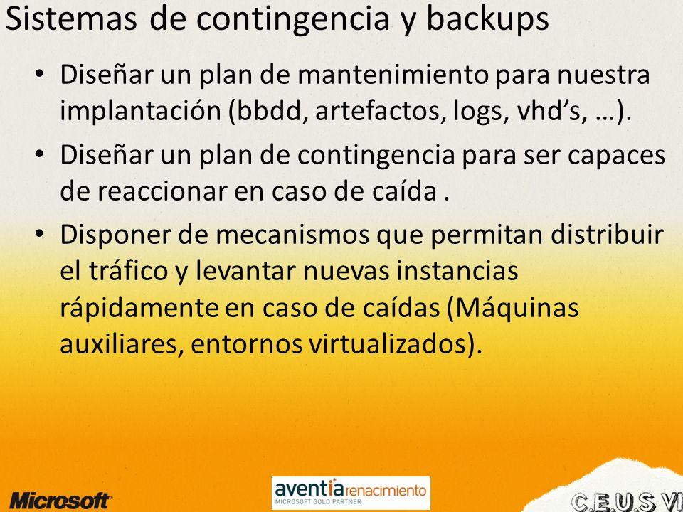 Sistemas de contingencia y backups Diseñar un plan de mantenimiento para nuestra implantación (bbdd, artefactos, logs, vhds, …). Diseñar un plan de co