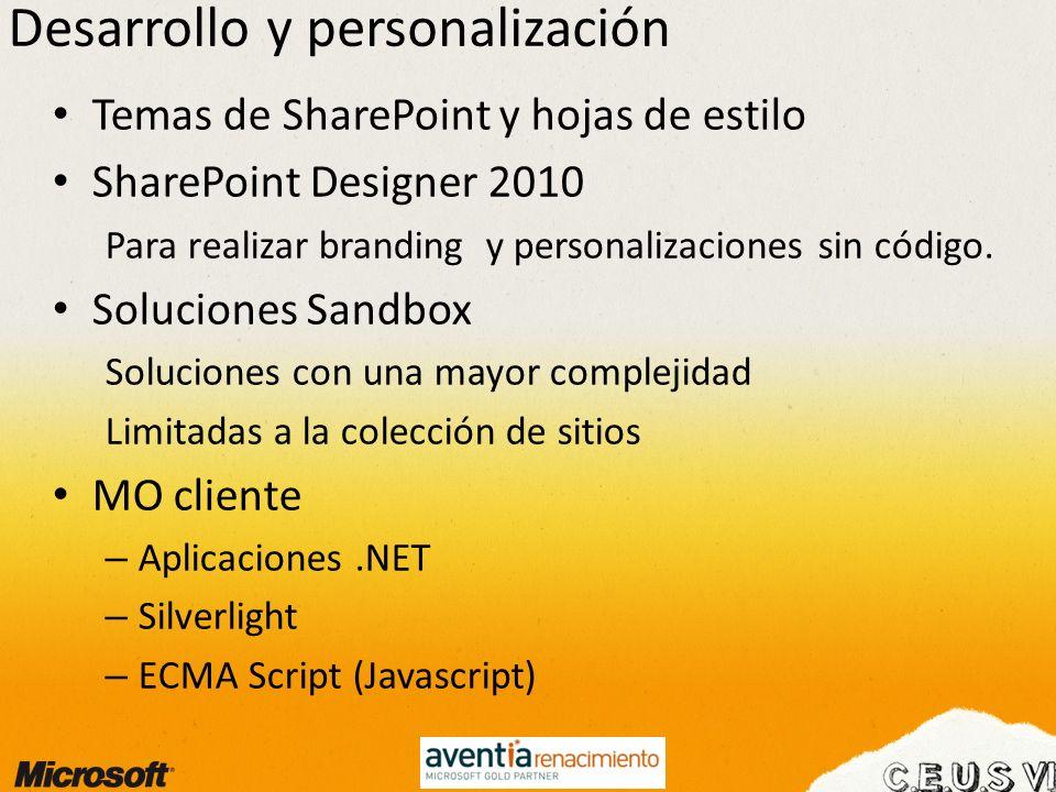 Desarrollo y personalización Temas de SharePoint y hojas de estilo SharePoint Designer 2010 Para realizar branding y personalizaciones sin código. Sol