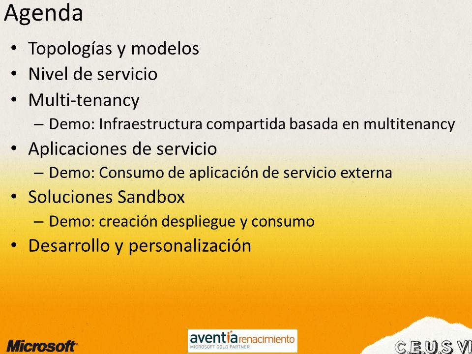 Agenda Topologías y modelos Nivel de servicio Multi-tenancy – Demo: Infraestructura compartida basada en multitenancy Aplicaciones de servicio – Demo: