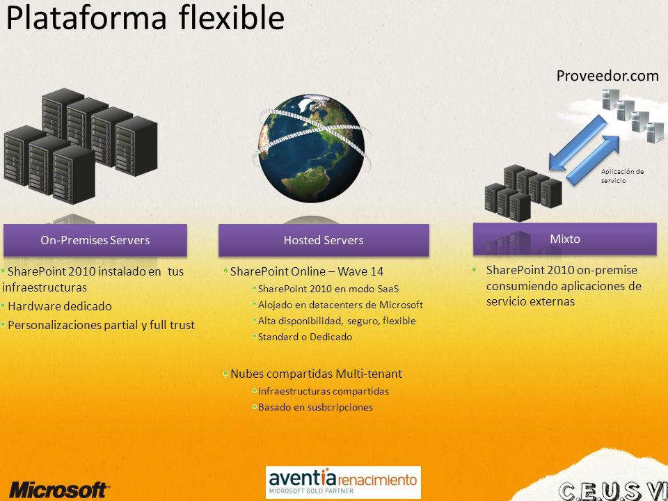 Plataforma flexible SharePoint 2010 instalado en tus infraestructuras Hardware dedicado Personalizaciones partial y full trust SharePoint Online – Wav