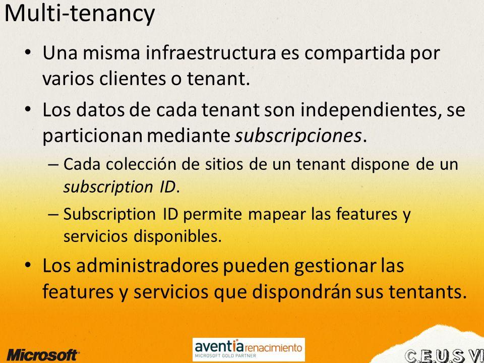 Multi-tenancy Una misma infraestructura es compartida por varios clientes o tenant. Los datos de cada tenant son independientes, se particionan median