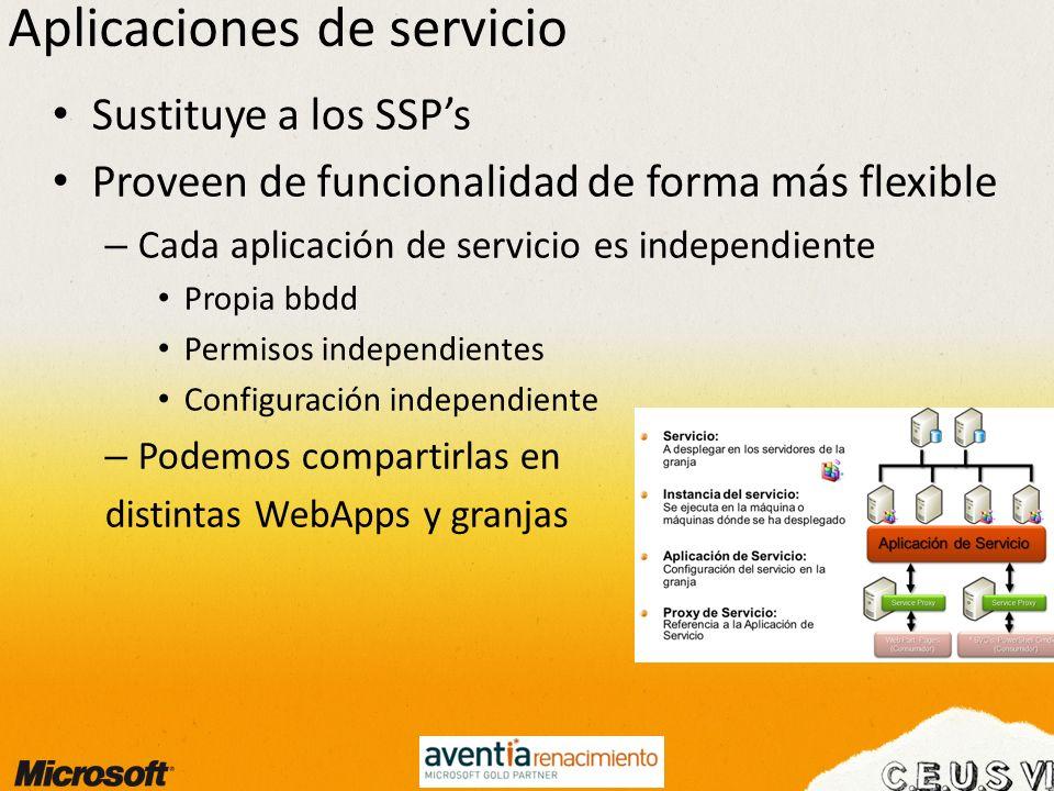 Aplicaciones de servicio Sustituye a los SSPs Proveen de funcionalidad de forma más flexible – Cada aplicación de servicio es independiente Propia bbd