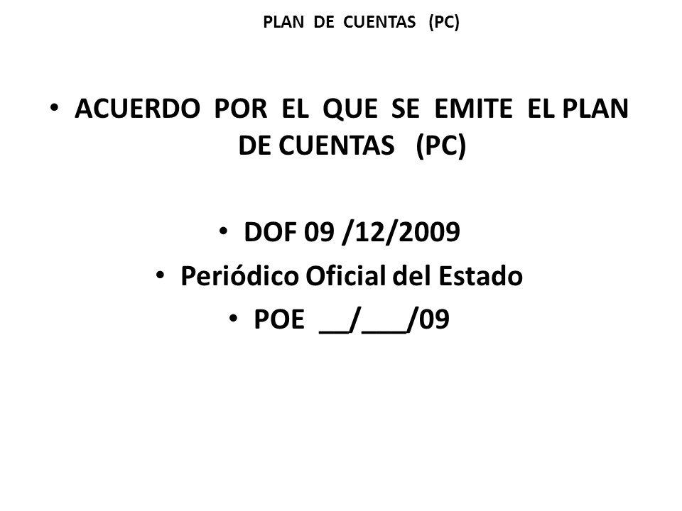 ACUERDO POR EL QUE SE EMITE EL PLAN DE CUENTAS (PC) DOF 09 /12/2009 Periódico Oficial del Estado POE __/___/09 PLAN DE CUENTAS (PC)