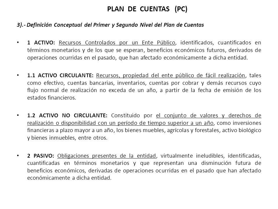 3).- Definición Conceptual del Primer y Segundo Nivel del Plan de Cuentas 1 ACTIVO: Recursos Controlados por un Ente Público, identificados, cuantific