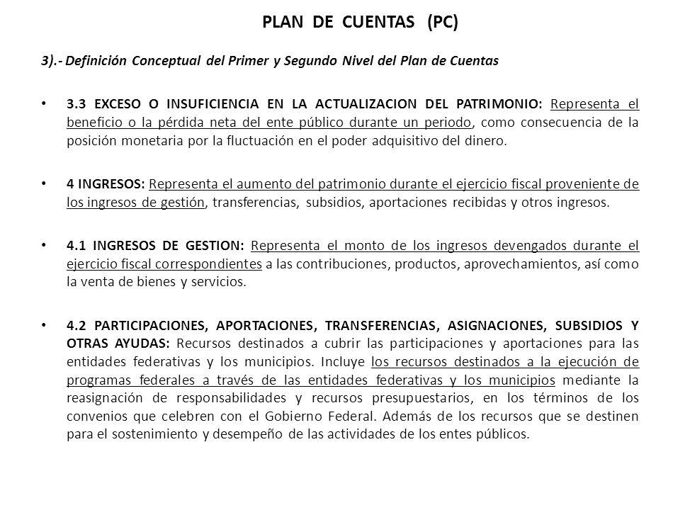 3).- Definición Conceptual del Primer y Segundo Nivel del Plan de Cuentas 3.3 EXCESO O INSUFICIENCIA EN LA ACTUALIZACION DEL PATRIMONIO: Representa el