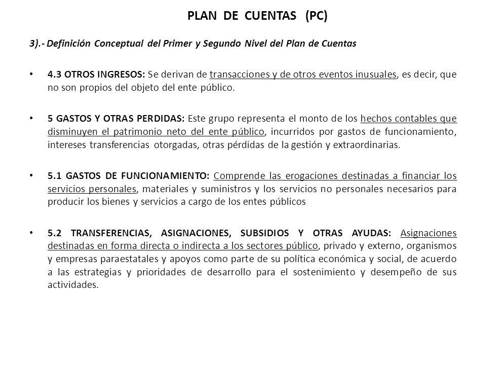 3).- Definición Conceptual del Primer y Segundo Nivel del Plan de Cuentas 4.3 OTROS INGRESOS: Se derivan de transacciones y de otros eventos inusuales