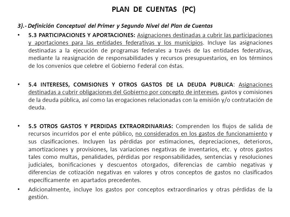 3).- Definición Conceptual del Primer y Segundo Nivel del Plan de Cuentas 5.3 PARTICIPACIONES Y APORTACIONES: Asignaciones destinadas a cubrir las participaciones y aportaciones para las entidades federativas y los municipios.