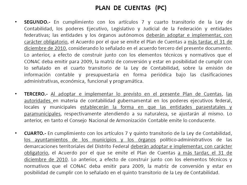 SEGUNDO.- En cumplimiento con los artículos 7 y cuarto transitorio de la Ley de Contabilidad, los poderes Ejecutivo, Legislativo y Judicial de la Fede