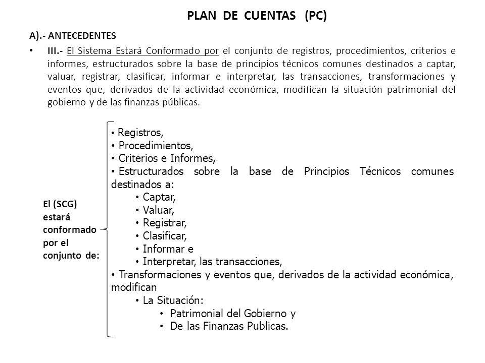 PLAN DE CUENTAS (PC) A).- ANTECEDENTES III.- El Sistema Estará Conformado por el conjunto de registros, procedimientos, criterios e informes, estructu