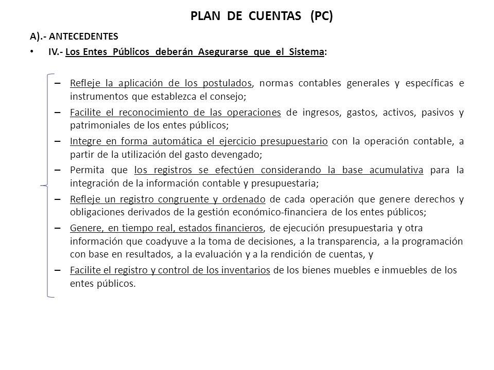 PLAN DE CUENTAS (PC) A).- ANTECEDENTES IV.- Los Entes Públicos deberán Asegurarse que el Sistema: – Refleje la aplicación de los postulados, normas co