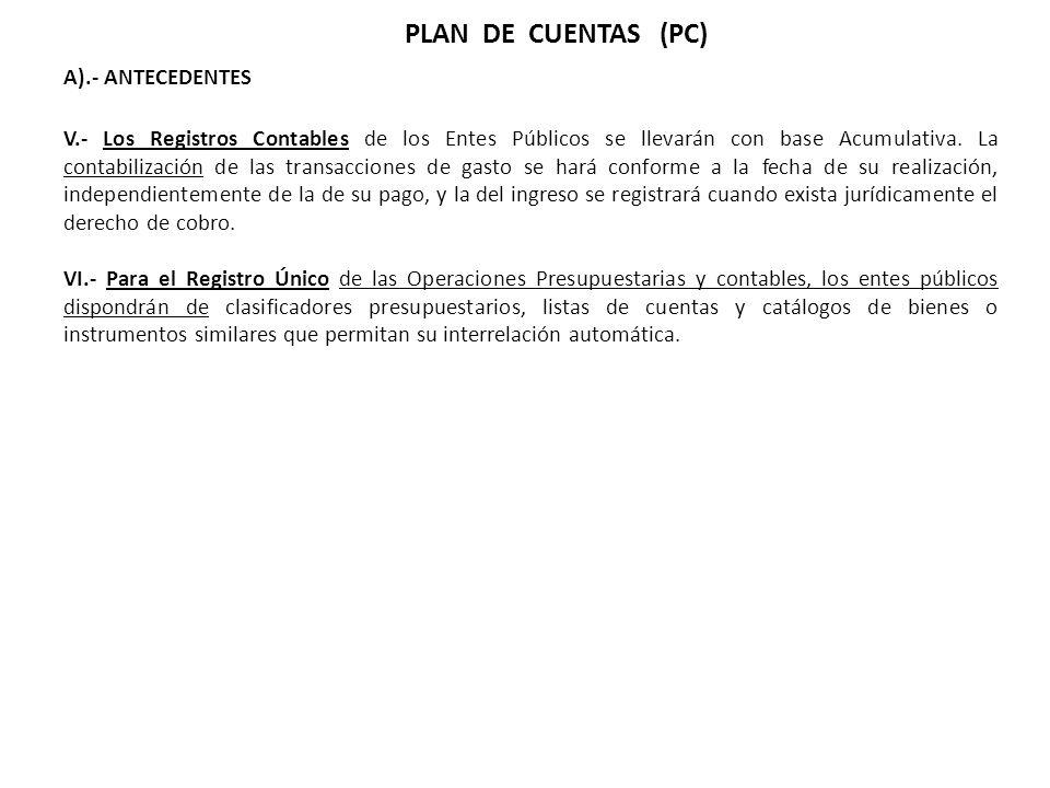 PLAN DE CUENTAS (PC) A).- ANTECEDENTES V.- Los Registros Contables de los Entes Públicos se llevarán con base Acumulativa. La contabilización de las t