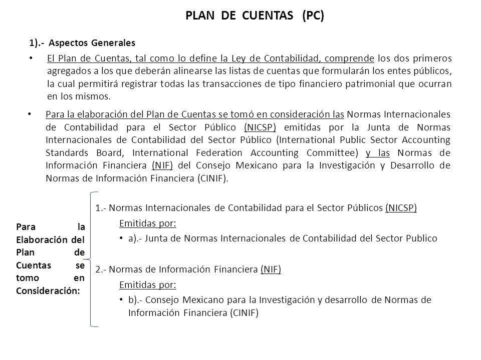 1).- Aspectos Generales El Plan de Cuentas, tal como lo define la Ley de Contabilidad, comprende los dos primeros agregados a los que deberán alinears