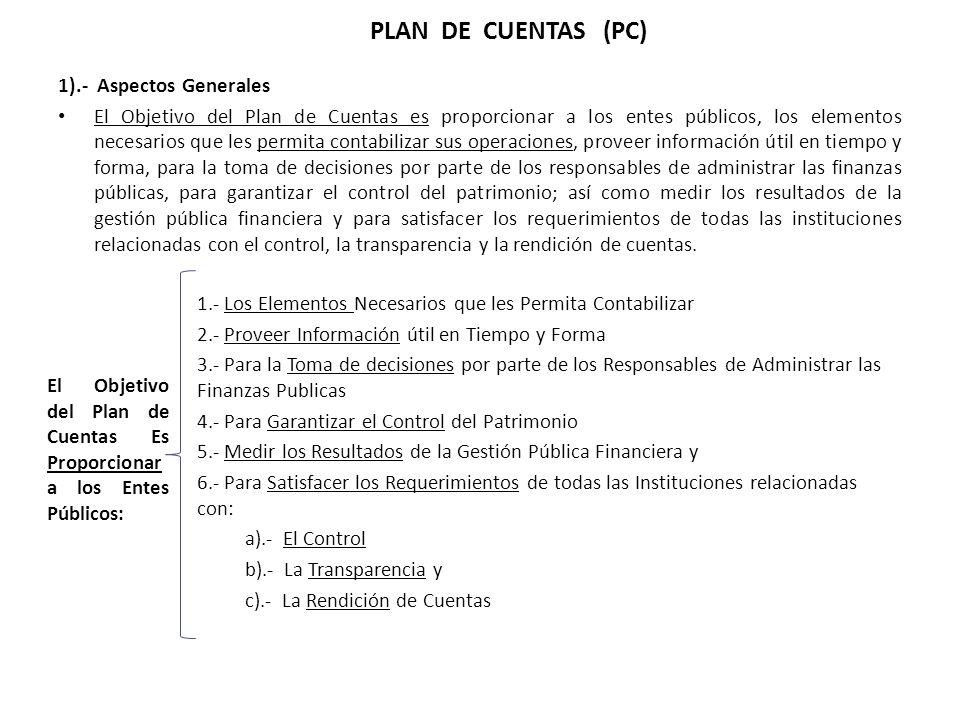 1).- Aspectos Generales El Objetivo del Plan de Cuentas es proporcionar a los entes públicos, los elementos necesarios que les permita contabilizar su