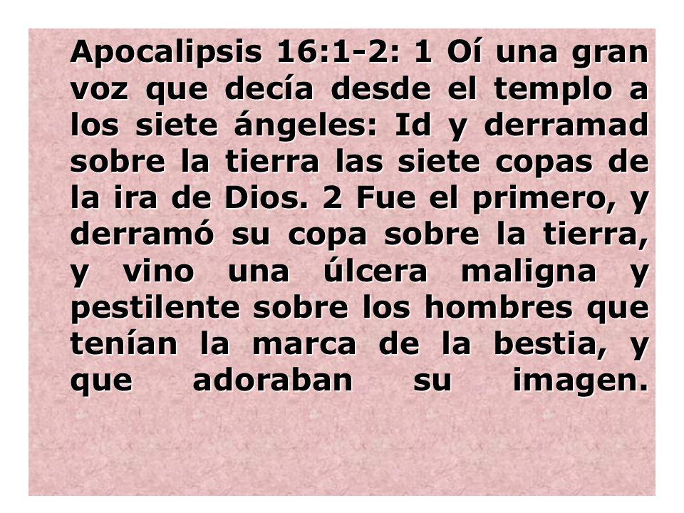 Apocalipsis 16:1-2: 1 Oí una gran voz que decía desde el templo a los siete ángeles: Id y derramad sobre la tierra las siete copas de la ira de Dios.