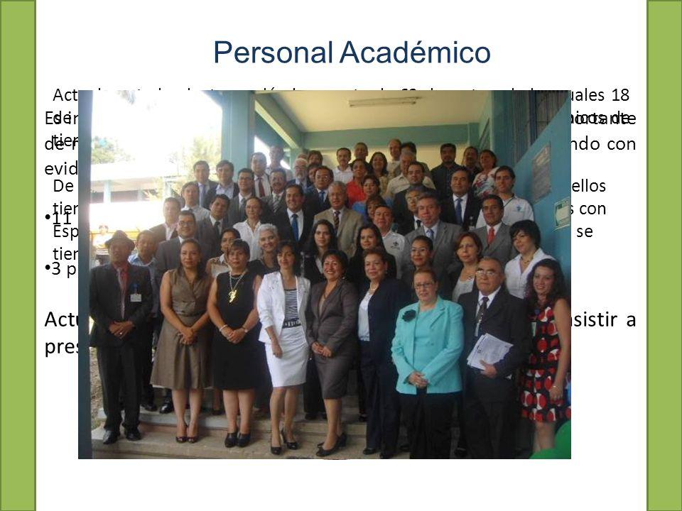 Personal Académico Actualmente la planta académica consta de 63 docentes, de los cuales 18 de ellos son maestros de tiempo completo, 6 son técnicos académicos de tiempo completo y 39 de ellos son maestros de asignatura.