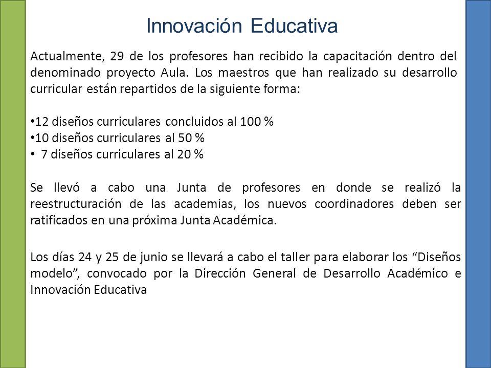 Innovación Educativa Actualmente, 29 de los profesores han recibido la capacitación dentro del denominado proyecto Aula.