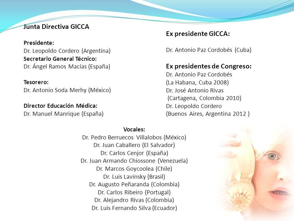 Junta Directiva GICCA Presidente: Dr. Leopoldo Cordero (Argentina) Secretario General Técnico: Dr. Ángel Ramos Macías (España) Tesorero: Dr. Antonio S