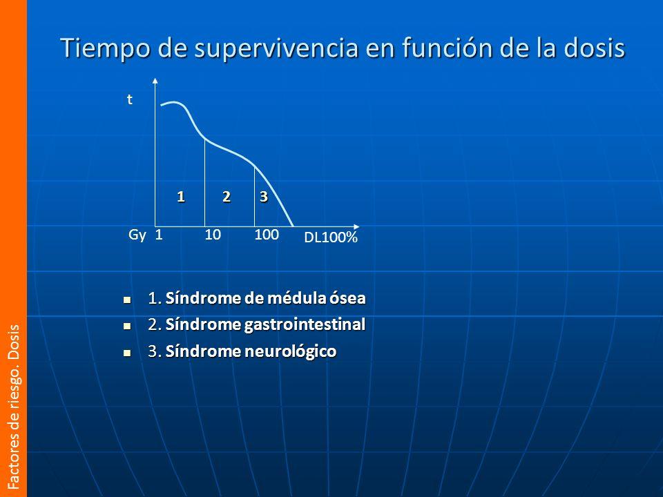 Tiempo de supervivencia en función de la dosis 1. Síndrome de médula ósea 1. Síndrome de médula ósea 2. Síndrome gastrointestinal 2. Síndrome gastroin