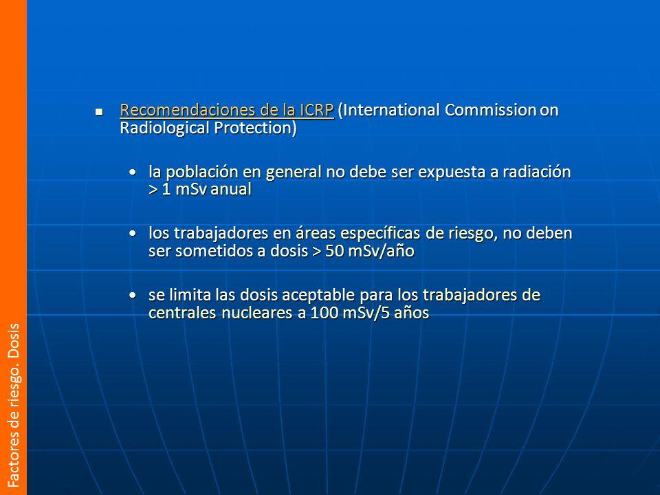 Recomendaciones de la ICRP (International Commission on Radiological Protection) Recomendaciones de la ICRP (International Commission on Radiological