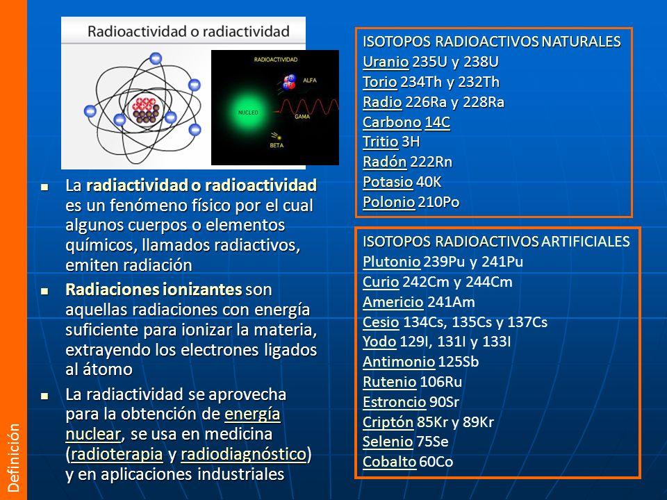 La radiobiología estudia los fenómenos que suceden una vez que el tejido vivo ha absorbido la energía depositada por las radiaciones ionizantes La radiobiología estudia los fenómenos que suceden una vez que el tejido vivo ha absorbido la energía depositada por las radiaciones ionizantes La interacción de la radiación con la materia viva es: La interacción de la radiación con la materia viva es: probabilísticaprobabilística no siempre se produce lesión no siempre se produce lesión la probabilidad del efecto aumenta a medida que aumenta la dosis la probabilidad del efecto aumenta a medida que aumenta la dosis no selectivano selectiva la lesión que se produce no es específica y la pueden producir otras causas la lesión que se produce no es específica y la pueden producir otras causas su efecto biológico puede aparecer inmediatamente o a largo plazosu efecto biológico puede aparecer inmediatamente o a largo plazo La acción de las radiaciones ionizantes es siempre lesiva (daño celular), aunque a veces sea una acción perseguida (radioterapia) La acción de las radiaciones ionizantes es siempre lesiva (daño celular), aunque a veces sea una acción perseguida (radioterapia) Definición
