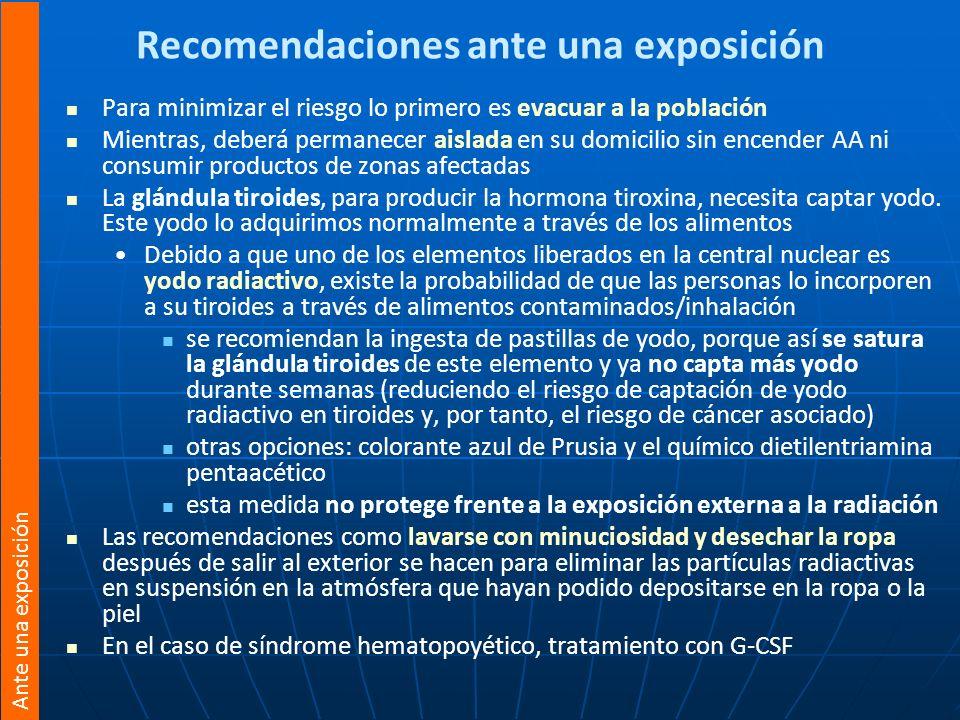 Recomendaciones ante una exposición Para minimizar el riesgo lo primero es evacuar a la población Mientras, deberá permanecer aislada en su domicilio
