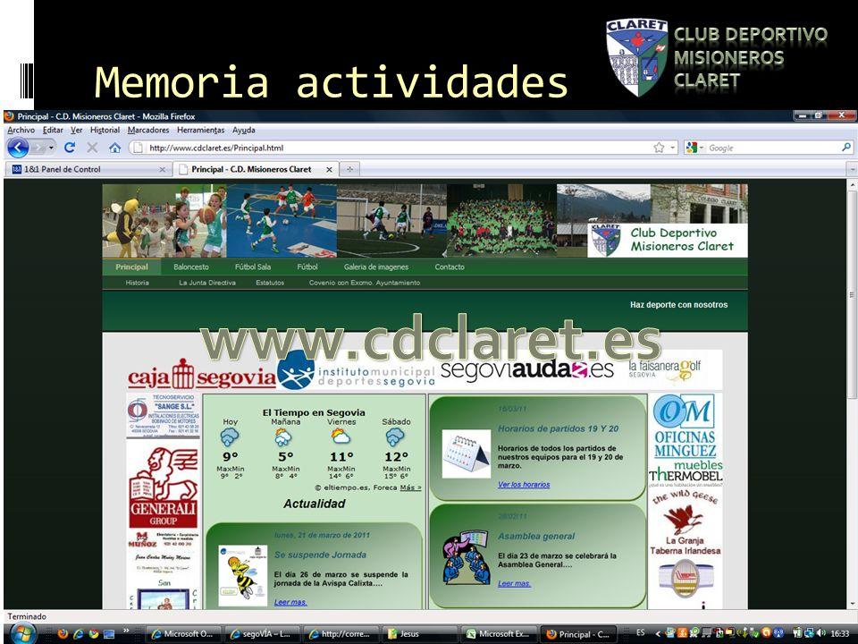 Memoria actividades Se pone en funcionamiento la pagina web