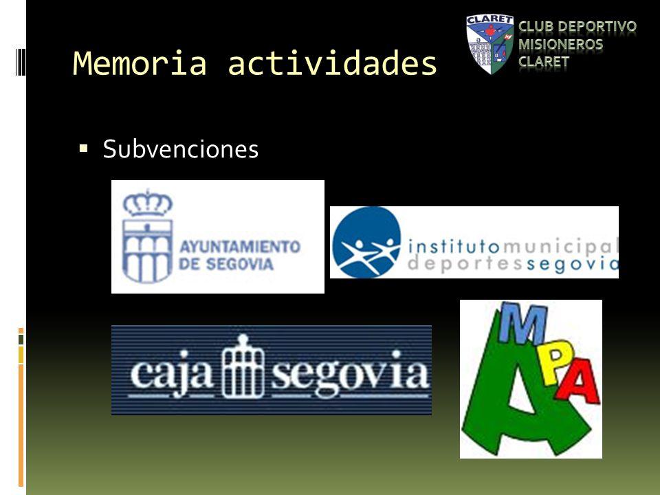Memoria actividades Subvenciones