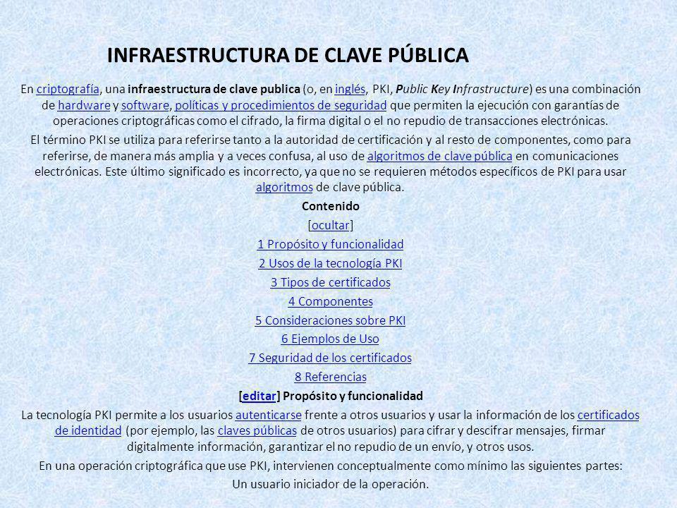 INFRAESTRUCTURA DE CLAVE PÚBLICA En criptografía, una infraestructura de clave publica (o, en inglés, PKI, Public Key Infrastructure) es una combinaci