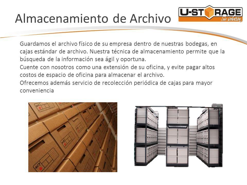 Almacenamiento de Archivo Guardamos el archivo físico de su empresa dentro de nuestras bodegas, en cajas estándar de archivo. Nuestra técnica de almac