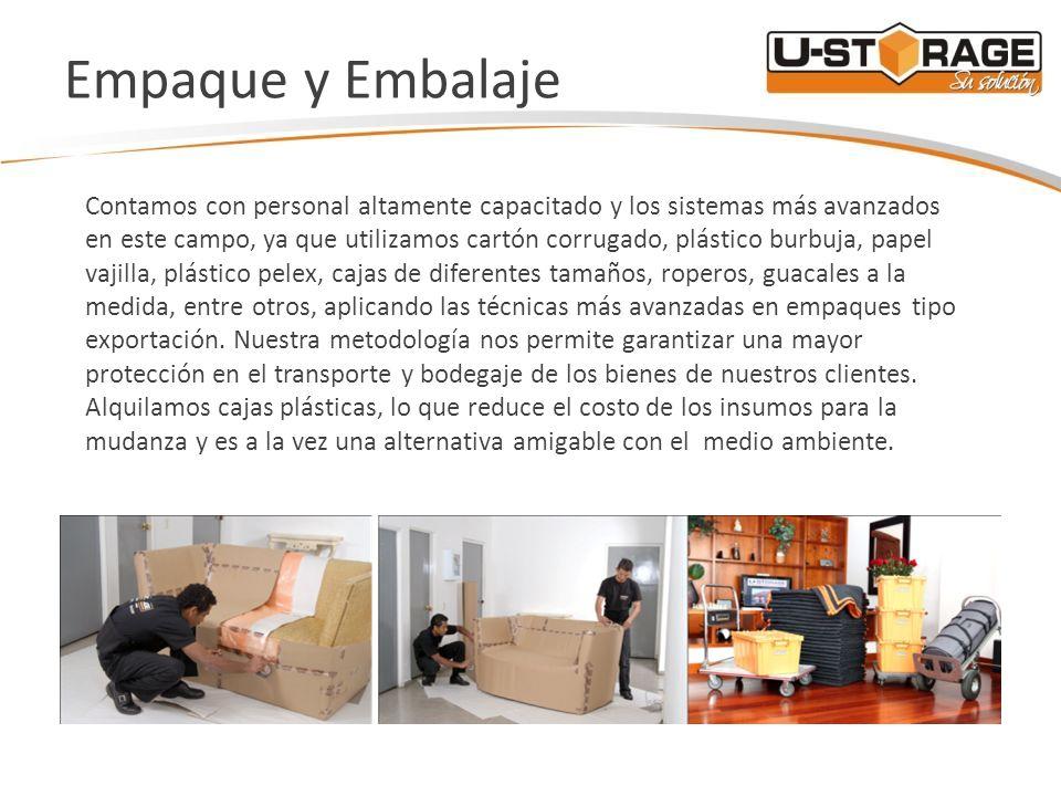Empaque y Embalaje Contamos con personal altamente capacitado y los sistemas más avanzados en este campo, ya que utilizamos cartón corrugado, plástico