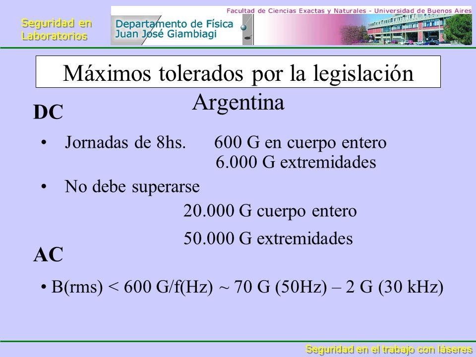 Seguridad en Laboratorios Seguridad en Laboratorios Seguridad en el trabajo con láseres Máximos tolerados por la legislación Argentina Jornadas de 8hs