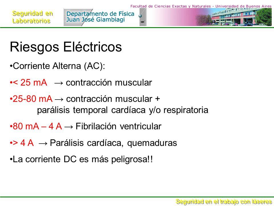 Seguridad en Laboratorios Seguridad en Laboratorios Seguridad en el trabajo con láseres Riesgos Eléctricos Corriente Alterna (AC): < 25 mA contracción