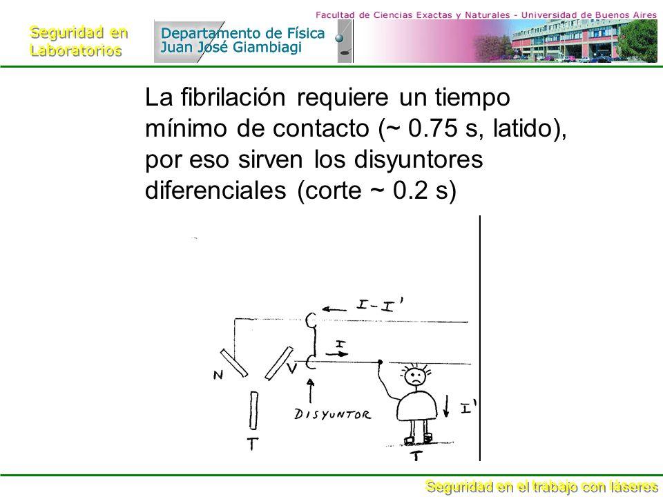 Seguridad en Laboratorios Seguridad en Laboratorios Seguridad en el trabajo con láseres La fibrilación requiere un tiempo mínimo de contacto (~ 0.75 s