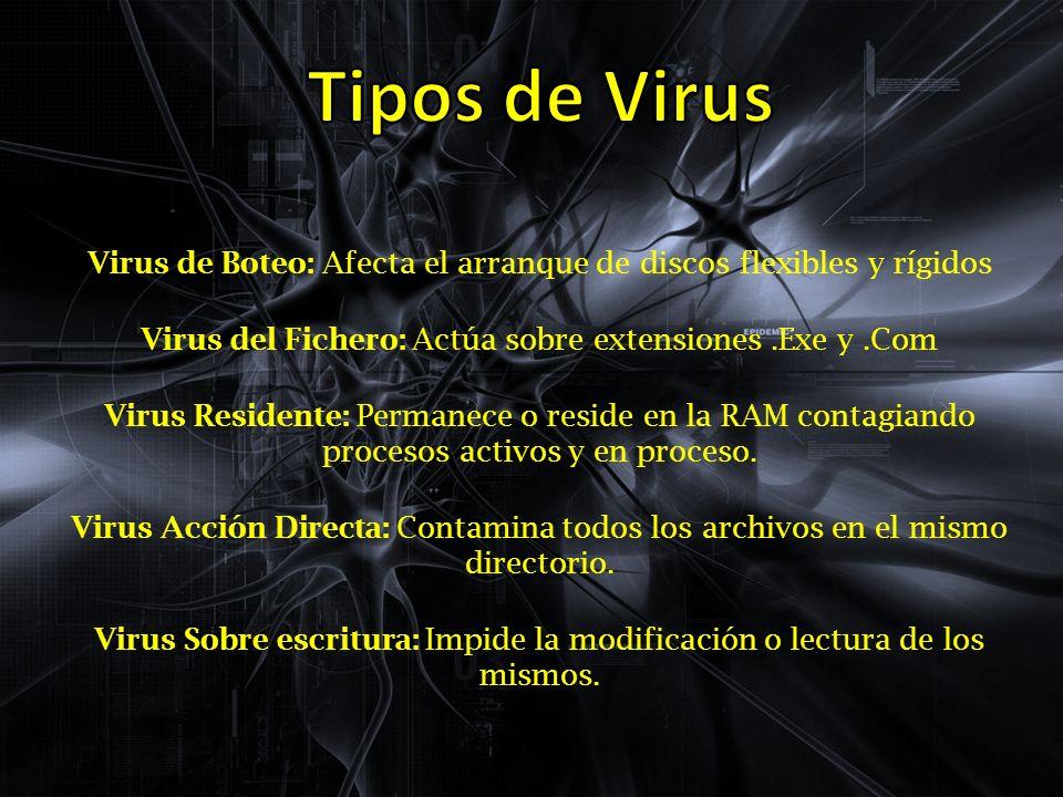 Virus de Boteo: Afecta el arranque de discos flexibles y rígidos Virus del Fichero: Actúa sobre extensiones.Exe y.Com Virus Residente: Permanece o reside en la RAM contagiando procesos activos y en proceso.
