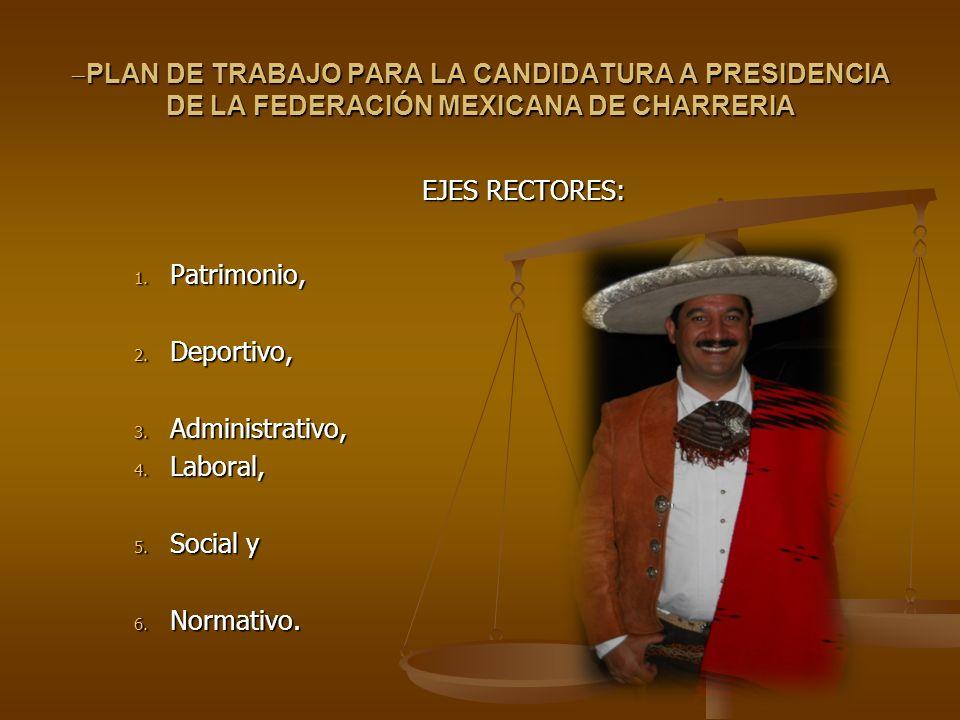 PLAN DE TRABAJO PARA LA CANDIDATURA A PRESIDENCIA DE LA FEDERACIÓN MEXICANA DE CHARRERIA PLAN DE TRABAJO PARA LA CANDIDATURA A PRESIDENCIA DE LA FEDER