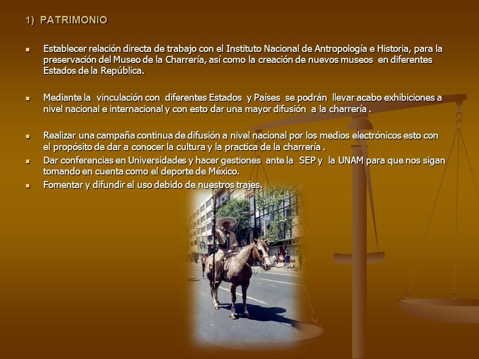 1 ) PATRIMONIO Establecer relación directa de trabajo con el Instituto Nacional de Antropología e Historia, para la preservación del Museo de la Charr
