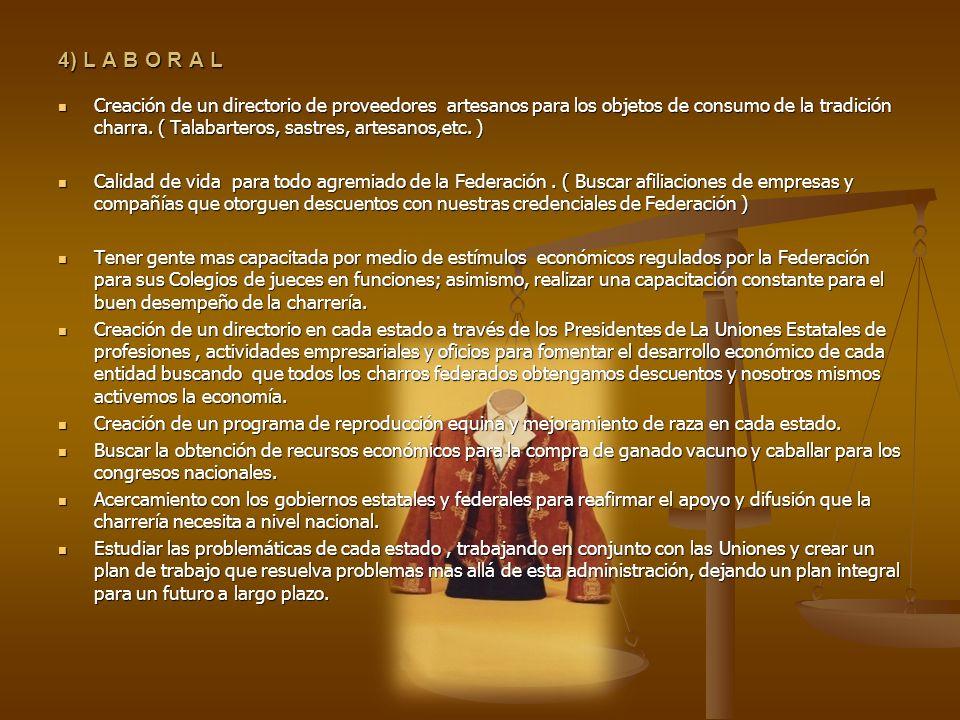 4) L A B O R A L Creación de un directorio de proveedores artesanos para los objetos de consumo de la tradición charra. ( Talabarteros, sastres, artes