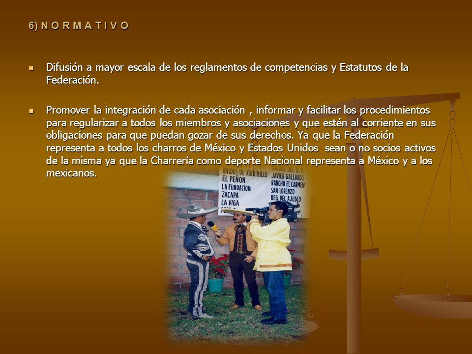 6) N O R M A T I V O Difusión a mayor escala de los reglamentos de competencias y Estatutos de la Federación. Difusión a mayor escala de los reglament