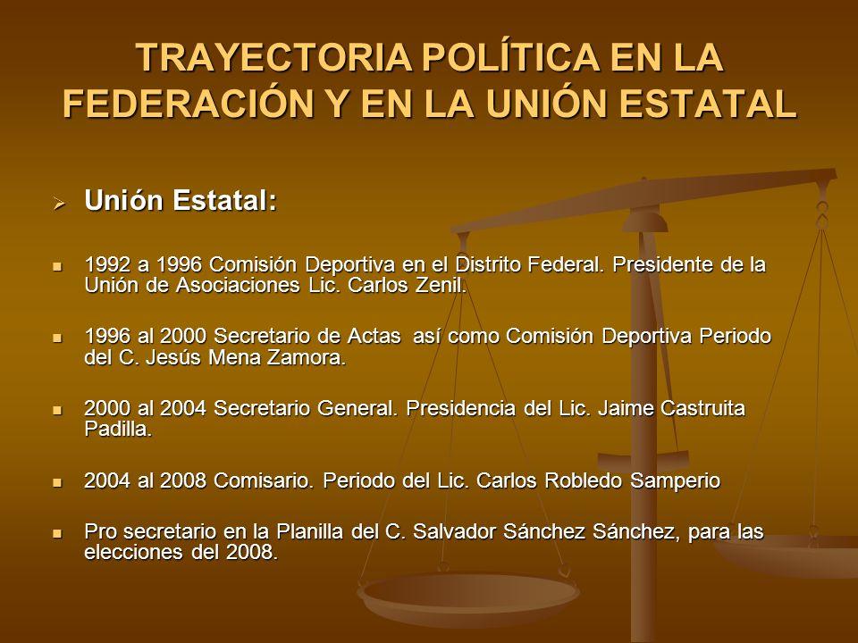 TRAYECTORIA POLÍTICA EN LA FEDERACIÓN Y EN LA UNIÓN ESTATAL Unión Estatal: Unión Estatal: 1992 a 1996 Comisión Deportiva en el Distrito Federal. Presi