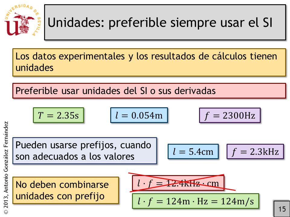 © 2013, Antonio González Fernández Unidades: preferible siempre usar el SI 15 Los datos experimentales y los resultados de cálculos tienen unidades Preferible usar unidades del SI o sus derivadas Pueden usarse prefijos, cuando son adecuados a los valores No deben combinarse unidades con prefijo