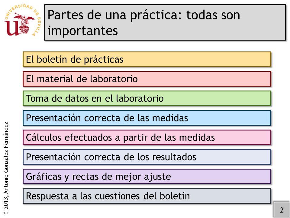 © 2013, Antonio González Fernández Las gráficas de los datos experimentales son esenciales.