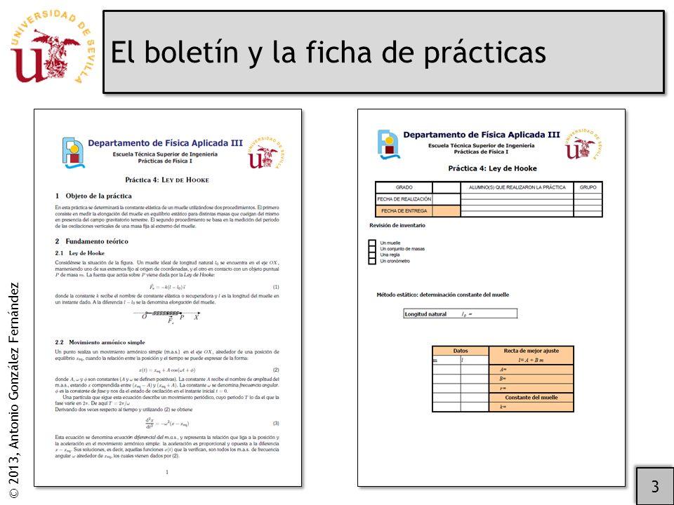 © 2013, Antonio González Fernández El boletín y la ficha de prácticas 3