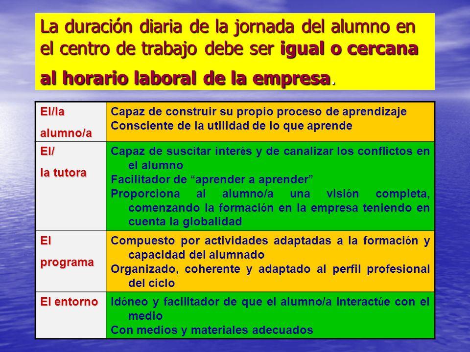 La duración diaria de la jornada del alumno en el centro de trabajo debe ser igual o cercana al horario laboral de la empresa.