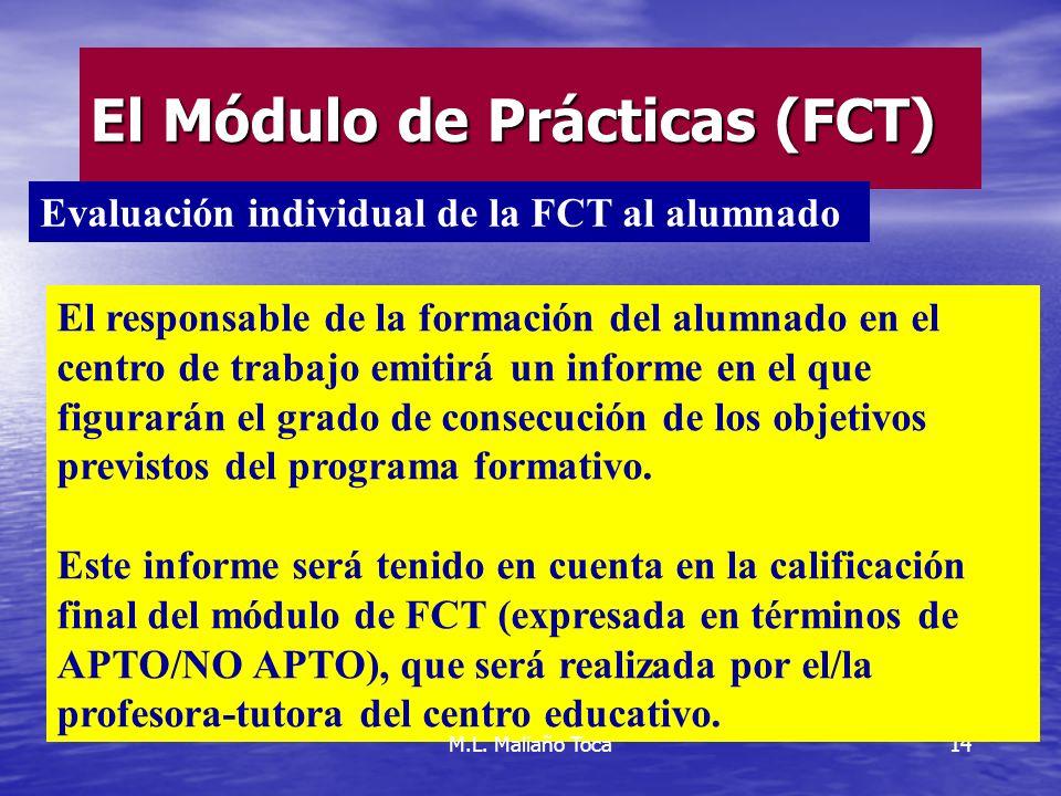 14 El Módulo de Prácticas (FCT) El responsable de la formación del alumnado en el centro de trabajo emitirá un informe en el que figurarán el grado de consecución de los objetivos previstos del programa formativo.