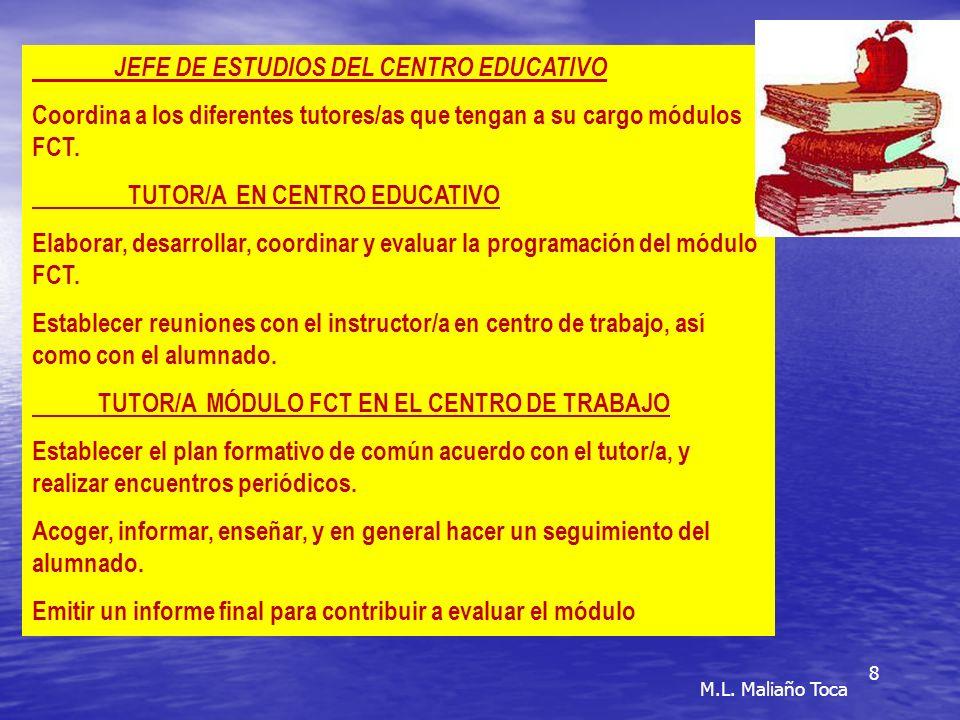 8 JEFE DE ESTUDIOS DEL CENTRO EDUCATIVO Coordina a los diferentes tutores/as que tengan a su cargo módulos FCT.